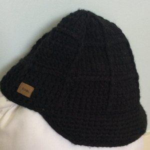 Coal black knitted cap